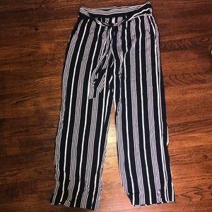 Cynthia Rowley Wide Leg Navy Stripe Pants Size M